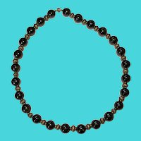 "Vintage 18"" Brass & Black & Reddish Obsidian Lava Glass Bead Necklace"