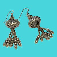 Vintage Heavy Sterling Silver Dangling Boho Bollywood Middle Eastern Earrings