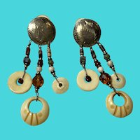Vintage Tribal Look Sterling Silver, Jade & Carved Bone Dangly Earrings