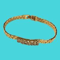 Vintage B.C. Lind 14k GE Plated Golden Nugget Rhinestone Bracelet