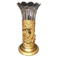 "8 1/2"" French Brass & Glass Vase"