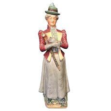 "13"" Majolica Figural Lady Bottle"