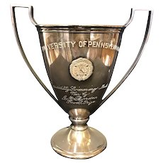 """9"""" 1920's University Of Pennsylvania Swimming Loving Cup Trophy"""