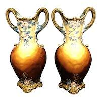 """Or 10"""" Majolica Vases"""