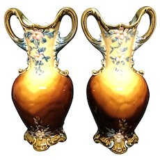 "Or 10"" Majolica Vases"