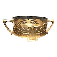 "7 1/8"" Art Nouveau Brass & Glass Bowl"