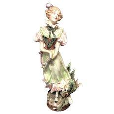 """17 3/4"""" Majolica Figurine"""