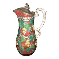 """9 1/2"""" Staffordshire Pewter Top Pitcher"""