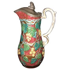 "9 1/2"" Staffordshire Pewter Top Pitcher"