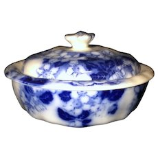 3pc Floral Flow Blue Covered Butter Dish