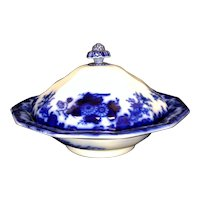Scinde Flow Blue Covered Butter Dish