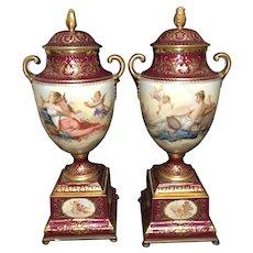 "18 1/4"" Pr Royal Vienna urns"