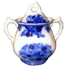 Floral flow blue sugar bowl