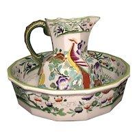 Masons ironstone bowl & pitcher