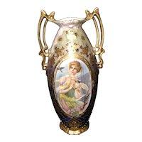 """13 1/4"""" E S Germany prov sxe porcelain portrait vase"""