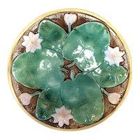 """8 7/8"""" Majolica Pond Lily Plate"""