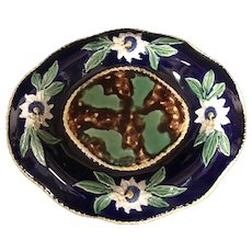 "13 3/4"" English Cobalt Majolica Tray"