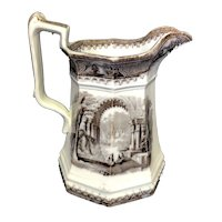"""8 1/4"""" Castle Scenery Mulberry Pitcher"""