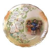 "8 1/4"" 1912 Porcelain Football Calendar Plate"