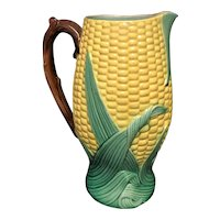 "8 1/2"" Majolica Corn Pitcher"