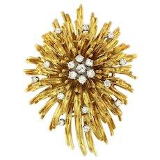 Vintage France En-Tremblant  Diamond 18 kt Solid Yellow Gold Brooch Pendant, Hallmarked.