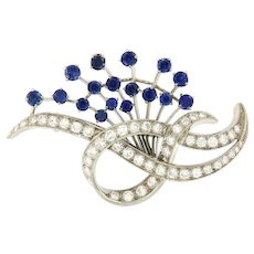 Vintage Platinum Diamond & Sapphire Brooch, Top Quality.