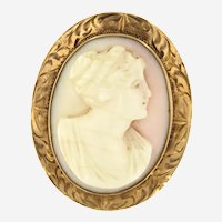 Victorian Revival Cameo Brooch Pendant in 10 ct Gold