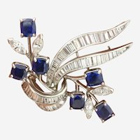 Rare Fine Sapphire & Diamond Platinum Floral & Bow Brooch