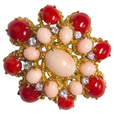 Van Cleef & Arpels vintage French 1960 Coral & Diamond Clip Brooch or Pendant