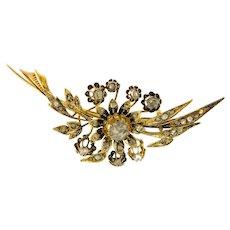 Antique Victorian 15kt Gold Rose Cut Diamonds Brooch, Hallmarked.