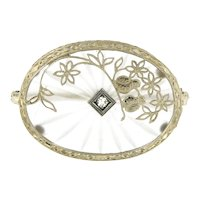 Vintage Rock Crystal Brooch with Diamond Accents in 14kt White Gold, Circa 1940-50