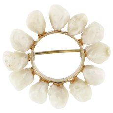 Vintage 14 kt Gold River Baroque Pearl Brooch.