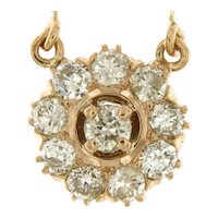 Estate Floral Diamond Cluster Pendant on Chain, 14kt Yellow Gold