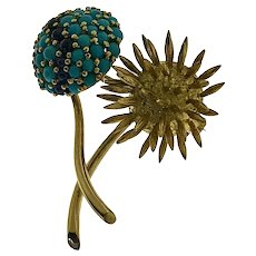 Ruth Satsky 18kt Gold Turquoise & Sapphire Flower Motif Brooch, Circa mid last century