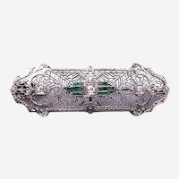 Art Deco 14 kt Gold Diamond Emerald Filigree Brooch Pendant
