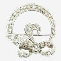 Platinum Diamond Bow Brooch or Pendant