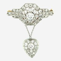 4.50 ctw Diamond Platinum Dangle Brooch & 14kt Yellow Gold