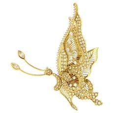 Vintage Frank J Golden 3.75 ct Diamonds 18kt Yellow Gold en-Tremblant Pendant / Brooch