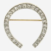 14kt Gold Platinum 2.50 ct Old European Cut Diamond Horseshoe Brooch, Edwardian Period