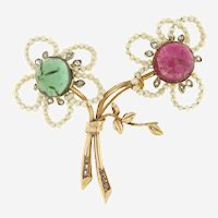 Antique Austrian Gemstones and Diamonds flower Motif Brooch, circa Edwardian Period