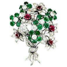 13.30 ct Ruby & Emerald Platinum Flower Brooch
