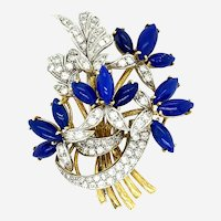 Vintage Diamonds & Lapis Bouquet of Flowers 18kt Gold Brooch, Italy, Circa 1970