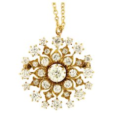 Victorian 4.88 ct Diamond 14kt Yellow Gold Pendant Brooch with Chain