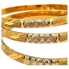22k Gold Diamond cut Bangles