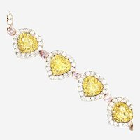 9.41 Carat GIA Cert. Natural yellow & Pink Diamonds Bracelet 18kt Gold