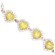 Natural yellow & Pink Diamonds Bracelet 18kt Gold