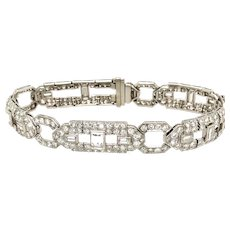 Vintage Platinum Diamond Bracelet 10ct diamonds