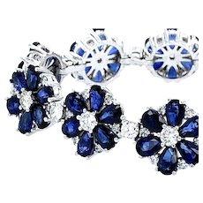 Sapphire and Diamonds Platinum Bracelet