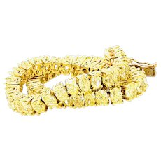 14 Carats Fancy Yellow Oval Shape Diamond Bracelet 18k