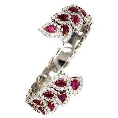 Kozi Collection Diamond & Ruby Cuff Bangle
